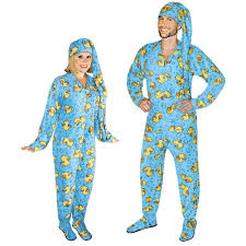 rubber ducks onesie footed pajamas for adults with drop seat and