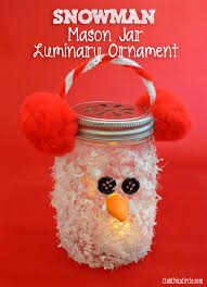 Using Mason Jars To Decorate For Christmas by Snowman Mason Jar Luminary Ornament Craft Idea Club Chica Circle
