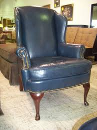 Blue Wingback Chair Design Ideas Blue Leather Wingback Chair Furniture For Home Office Www