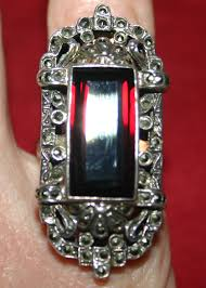 vintage red ruby marcasite sterling silver ring
