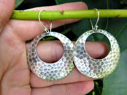 hammered hoops sterling silver hammered hoop earrings bali silver jewelry