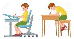 position au bureau boy writing on desk incorrect and correct back
