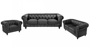 ensemble canapé 3 2 deco in ensemble canape 3 2 1 places noir chesterfield