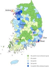 Map Of South Korea Changes In South Korean Urbanicity And Rates 1992 To 2012