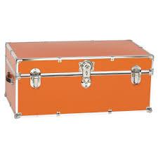 small orange steel storage trunk by stanley case works