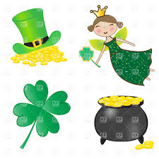 st patrick u0027s day symbols pot of gold clover top hat and fairy