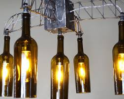 Whiskey Bottle Chandelier Bottle Chandelier Etsy