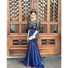 dress pesta navy dress gaun dress pesta preloved fesyen wanita
