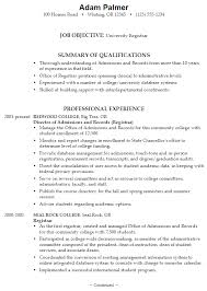 Resume Examples For College Students With Work Experience by Resume Example For A University Registrar Susan Ireland Resumes