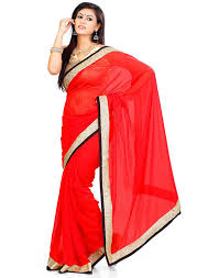 somya chiffon saree 044dno112 bright red amazon in clothing