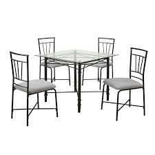 Black Metal Dining Room Chairs Amazon Com Dorel Living 5 Piece Glass Top Metal Dining Set