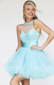 2015 light blue lace tulle halter short prom dress uk online