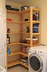 Laundry Room Storage Cabinets Ideas - decorations corner hidden wooden shelves idea for a laundry room