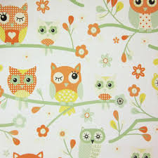 debona my room owls birds tree branches floral forest print