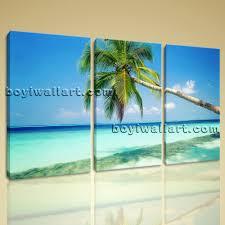 Landscape Canvas Prints by Stretched Canvas Prints Sunny Caribbean Beach Palm Tree Landscape
