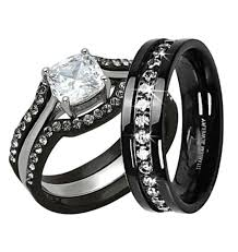 black wedding sets his hers 4pc black stainless steel titanium