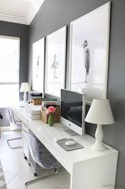 Chic Home Office Desk Chic Home Office Features A Wall Clad In Thibaut Ikat Wallpaper