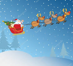 santa claus in flight with his reindeer and sleigh in christmas