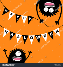 Hanging Flag Upside Down Two Screaming Monster Head Silhouette Bunting Stock Vector
