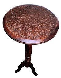 Antique Accent Table Mango Wood Carved Accent Pedestal Table Antique