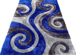 Modern Blue Rug Shag Shaggy Modern Swirl Design Gray Royal Blue Gray