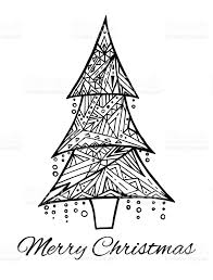 card with doodle black and white christmas tree and greetings