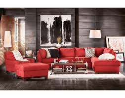 Dark Red Sofa Set Living Room Clean Interior Large Painting Red Sectional Sofa