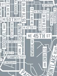 Map Seattle University by U District Seattle Washington Street Map Print Street