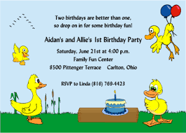 ducky 1st birthday invitations for twins