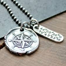 mens jewelry necklace images Personalized coordinates compass necklace unisex longitude jpg