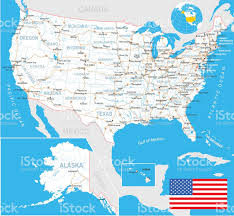 Usa Maps States by United States Map Flag Navigation Labels Roads Illustration Stock