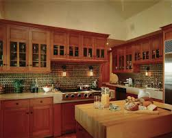 another nice kitchen glass front cabinets warm wood tile is