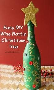 Glitter Christmas Ornaments With Glue by Easy Diy Wine Bottle Christmas Tree An Empty Wine Bottle Some