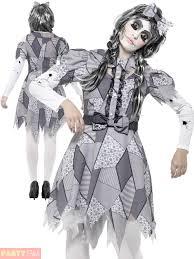 Zombie Costumes Ladies Damaged Broken Doll Costume Halloween Fancy Dress Womens