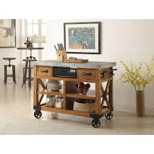 Kitchen Storage Carts Cabinets Acme Furniture Kailey Distressed Oak Kitchen Cart With Storage