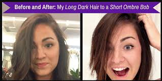 before and after picuters of long to short hair long brown hair to ombre bob haircut before and after
