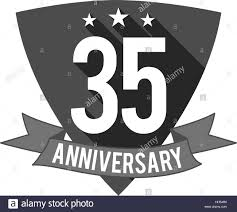 35 year anniversary 35 years anniversary badge sign and emblem flat design easy to