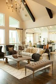 Cathedral Ceilings In Living Room Rectangular Coffee Table Living Room Traditional With Beige Sofa