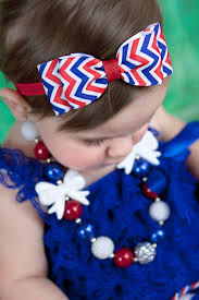 white and blue headband white blue chevron hair bow headband fourth of july baby