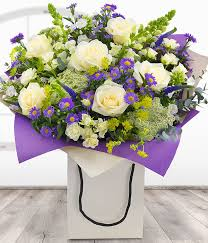 Flowers Delivered With Vase Country Garden Gift Bag Purple U0026 White Bouquet Florist Delivered