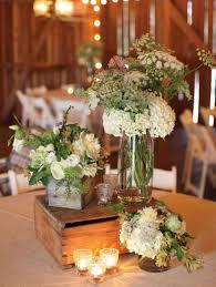 Table Flower Rustic Wedding Table Setting With Wooden Boxes And Flower Filled
