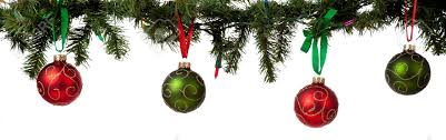 a ornament border with and green glittered baubles