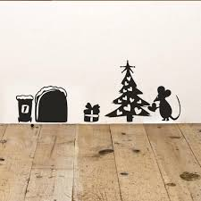 online get cheap christmas wall decal aliexpress com alibaba group new cute cartoon mouse home sticker wall decor mouse hole children decor vinyl sticker wall