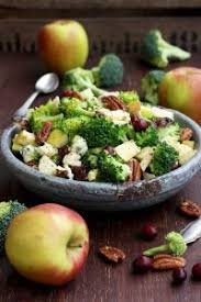 healthy broccoli salad with vegan bacon apples blue cheese and