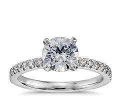 1 carat engagement rings 1 carat preset pavé diamond engagement ring in 14k white gold
