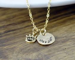 Stamped Name Necklace Crown Name Necklace Etsy