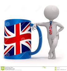 cup with great britain flag and small character royalty free stock