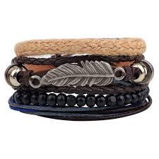 leaf wrap bracelet images Er vintage tribal bohemian feather bracelet boho silver alloy leaf jpg