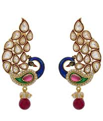 peacock design earrings in gold 64 on hyderabad jewels peacock design gold plated pearl drop