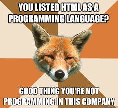 Meme Html - you listed html as a programming language good thing you re not